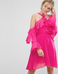 Платье халтер с оборкой Pearl - Розовый