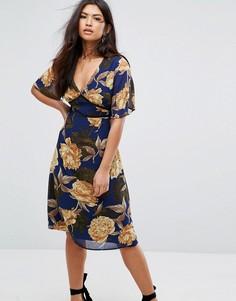 Платье миди с короткими рукавами и цветочным принтом Missguided - Темно-синий