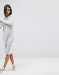 Вязаное платье с добавлением шерсти ASOS - Серый