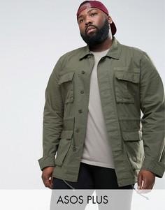 Куртка цвета хаки в стиле милитари ASOS PLUS - Зеленый