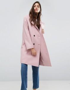 Пальто с необработанными краями ASOS - Розовый