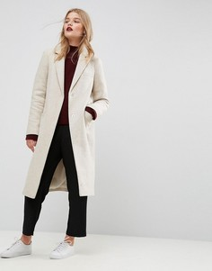 Фактурное облегающее пальто с карманами ASOS - Бежевый