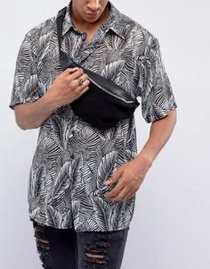 Черная сумка-кошелек на пояс из искусственного меха ASOS - Черный