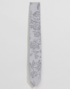 Галстук с цветочным принтом Noose & Monkey Wedding - Серый