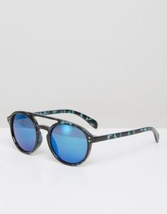 Синие круглые солнцезащитные очки 7X - Синий
