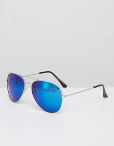 Солнцезащитные очки-авиаторы с синими стеклами 7x - Серебряный