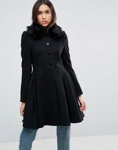 Пальто с воротником из искусственного меха ASOS - Черный