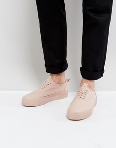 Розовые парусиновые кеды на шнуровке с массивной подошвой ASOS - Розовый