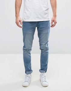 Голубые выбеленные узкие джинсы Solid - Синий