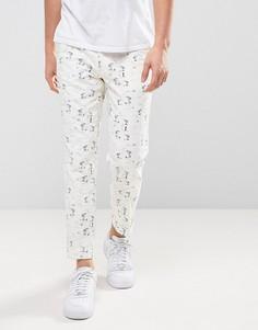Легкие укороченные брюки скинни с принтом ASOS - Белый