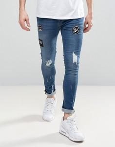 Темные джинсы скинни с нашивками Brave Soul - Синий