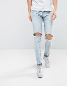 Светлые джинсы скинни с необработанными краями Brave Soul - Синий