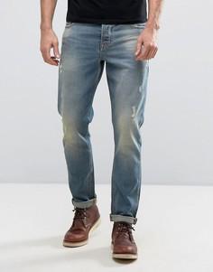 Светлые узкие джинсы с потертостями ASOS - Синий