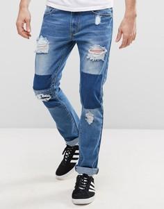 Рваные узкие джинсы с заплатками Liquor & Poker - Синий