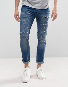 Выбеленные джинсы скинни с рваной отделкой Loyalty and Faith Doric - Синий