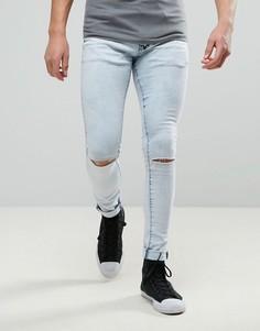 Супероблегающие джинсы с дырками на коленях Liquor & Poker - Синий