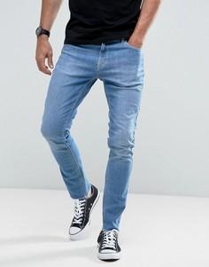 Узкие укороченные джинсы в винтажном стиле с необработанным краем Hoxton Denim - Синий