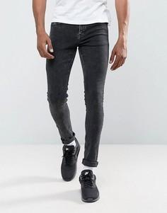 Черные супероблегающие джинсы из мраморного денима Hoxton - Черный