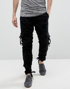 Черные узкие брюки карго с боковыми вставками ASOS - Черный