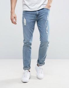 Светлые рваные джинсы скинни ASOS - Синий
