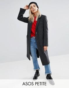 Фактурное пальто с карманами ASOS PETITE - Серый