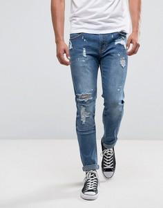 Синие джинсы слим с рваной отделкой Liquor & Poker - Синий