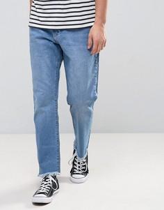 Выбеленные расклешенные джинсы цвета индиго с развернутым краем Zeffer - Синий