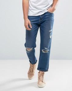 Рваные джинсы с заплатками Waven Skater - Синий