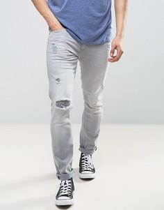 Серые рваные джинсы скинни Lee Luke - Серый