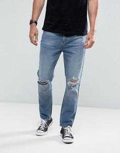Выбеленные джинсы с рваной отделкой Rollas Stubs Orignal - Синий Rollas