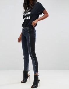 Двухцветные джинсы скинни с заниженной талией (синий/черный) ASOS PREMIUM WHITBY - Мульти