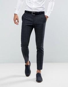 Узкие брюки в клетку с добавлением шерсти Selected Homme - Темно-синий