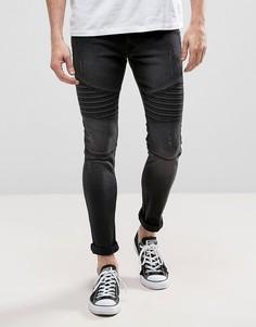 Черные выбеленные байкерские джинсы скинни Loyalty and Faith Carbon - Черный