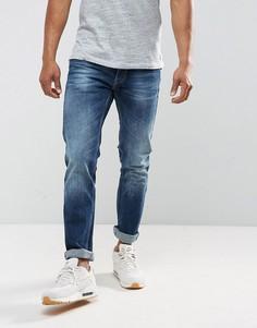 Темные выбеленные джинсы с суженными книзу штанинами Replay Grover - Синий