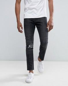 Черные джинсы слим со вставками Brooklyn Supply Co - Черный