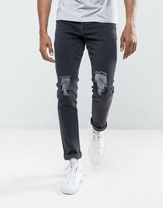 Черные джинсы скинни с рваными коленями Brooklyn Supply Co - Черный