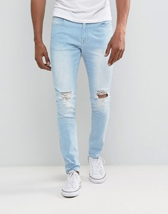 Выбеленные зауженные джинсы с рваной отделкой Brooklyn Supply Co - Синий