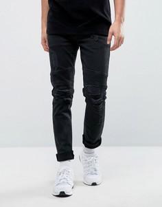 Черные рваные байкерские джинсы скинни ASOS - Черный