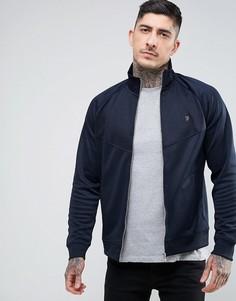 Темно-синяя узкая трикотажная куртка на молнии Farah Lancaster - Темно-синий