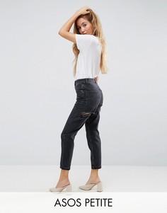 Черные выбеленные узкие джинсы в винтажном стиле с завышенной талией и рваными ягодицами ASOS PETITE FARLEIGH - Черный