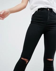 Черные рваные джинсы скинни ASOS RIDLEY - Черный