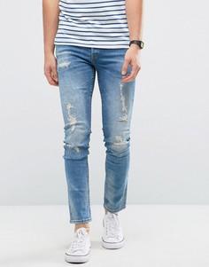 Узкие джинсы с потертой отделкой Only & Sons - Синий
