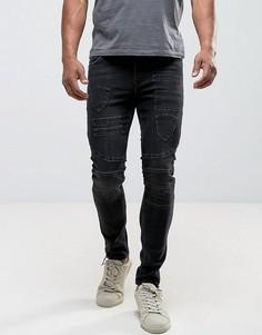 Черные выбеленные байкерские джинсы скинни с нашивками ASOS - Черный