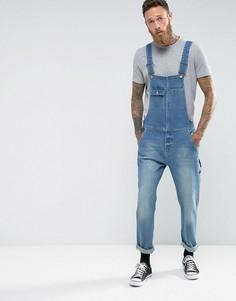 Синий выбеленный джинсовый комбинезон для работы в винтажном стиле ASOS - Синий