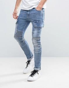 Синие джинсы суперскинни с карманами-карго и байкерской отделкой ASOS - Синий