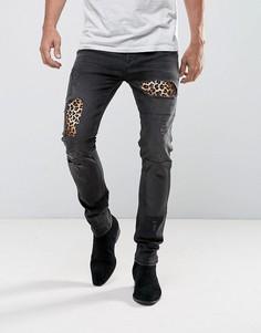 Черные выбеленные облегающие джинсы ASOS - Черный