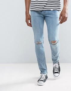 Синие облегающие джинсы с рваными коленями Cheap Monday - Синий