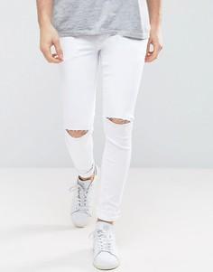 Белые супероблегающие джинсы с рваными коленями ASOS - Белый