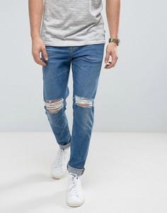 Синие выбеленные зауженные джинсы с рваной отделкой из ткани с плотностью 12,5 унций ASOS - Синий