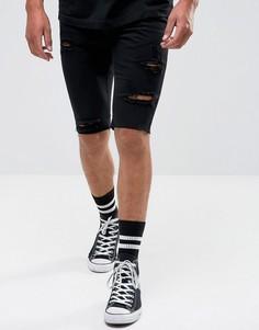 Джинсовые шорты с рваной отделкой Religion - Черный